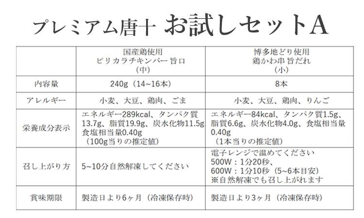 プレミアム唐十 お試しセットA(商品情報)